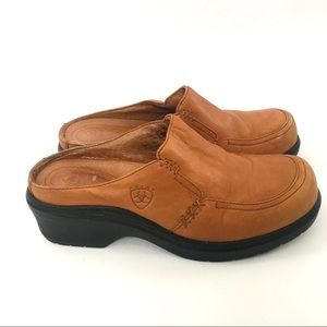 Ariat cognac leather mule clogs